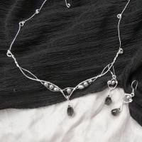 Perle naturale gri si cristale briolette gri