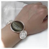 bratara sticla Murano gri bijuterii argintate handmade sarma argintata 2