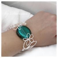 bratara sticla Murano turcoaz bijuterii argintate handmade sarma argintata 2