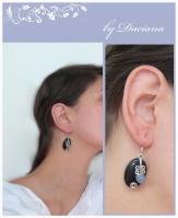 handmade vintage blue goldstone silver earrings jewelry bijuterii cercei argint piatra soarelui bleumarin calcedonie on