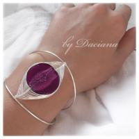 bratara sticla Murano violet bijuterii argintate handmade sarma argintata 1