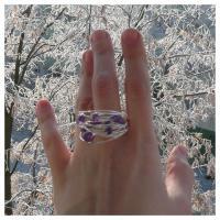 Teoria haosului inel ametist violet bijuterii argintate sarma argintata pietre semipretioase handmade zapada