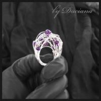 Teoria haosului inel ametist violet bijuterii argintate sarma argintata pietre semipretioase handmade