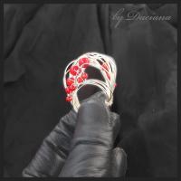 Teoria haosului inel coral rosu bijuterii argintate sarma argintata pietre semipretioase handmade