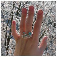 Teoria haosului inel turcoaz reconstituit bijuterii argintate sarma argintata pietre semipretioase handmade zapada