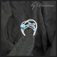 Teoria haosului inel turcoaz reconstituit bijuterii argintate sarma argintata pietre semipretioase handmade