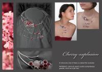 06 Flori de cires bijuterii argintate handmade colier versatil sarma argint pietre semipretioase jad rosu cuart roz granate