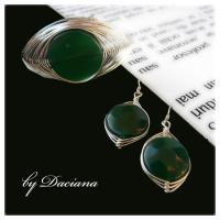 bijuterii argintate handmade bratara cercei pietre semipretioase agate verzi argint on