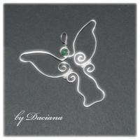 bijuterii argintate handmade pandantiv inger angel pietre semipretioase jad