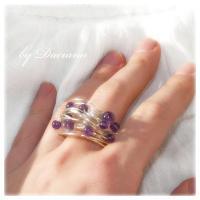 Teoria haosului inel ametist violet bijuterii argintate sarma argintata pietre semipretioase handmade on