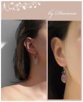 bijuterii handmade jewelry cercei cuart roz pink quartz silver earrings sarma argint 925 vintage