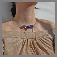 bijuterii handmade jewelry colier alama brass necklace matase silk albastru blue peste auriu nastur