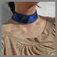 bijuterii handmade jewelry pandantiv colier alama brass necklace pendant matase silk albastru blue moneda