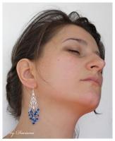 filigran cercei argintati bijuterii argintate cristale de boemia albastre bijuterii handmade sarma argintata