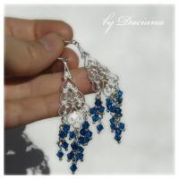 filigran cercei argintati bijuterii argintate cristale de boemia albastru bijuterii handmade sarma argintata