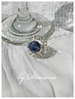 inel bijuterii argintate cuart albastru bijuterii handamde
