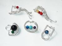 inel argintat bijuterii handmade sarma argintata pietre semipretioase
