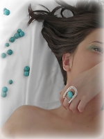 inel turcoaz bijuterii handmade sarma argintata pietre semipretioase