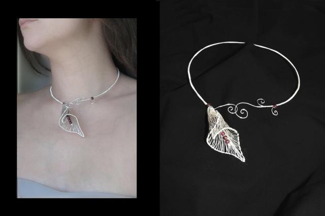 13 Colier mirea bijuterii handmade granat sarma argintata Cala 3D