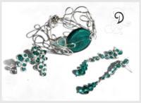 bridal bijuterii mireasa bratara handamade bracelet set sticla Murano smarald sarma argint 925 sterling silver