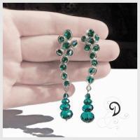 bridal bijuterii mireasa cercei handamade earrings cristale Boemia smarald sarma argint 925 sterling silver