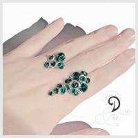 bridal bijuterii mireasa inel handamade ring cristale Boemia smarald sarma argint 925 sterling silver.jpg
