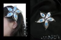 brosa banchet sarma argintata bijuterii handmade jewelry opalit pietre semipretioase