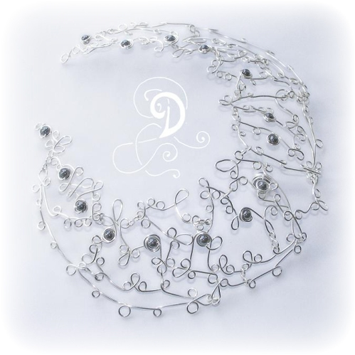 dantele colier sarma argintata bijuterii handmade jewelry silver plate wire pietre semipretioase hematit copy
