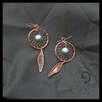 dream catcher bijuterii handmade jewelry turqouise earrings cercei turcoaz sarma cupru pietre semipretioase