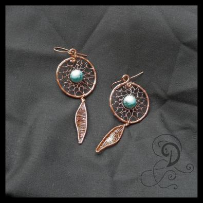 dream catcher bijuterii handmade jewelry turqouise earrings cercei turcoaz sarma cupru pietre semipretioase
