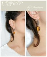cercei cristal Boemia auriu golden Bohemia crystal vintage element silver argint bijuterii handmade jewelry
