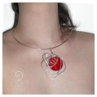colier sticla Murano  glas rosu bijuterii handmade jewelry argintate silver plated wire sarma argintata 1