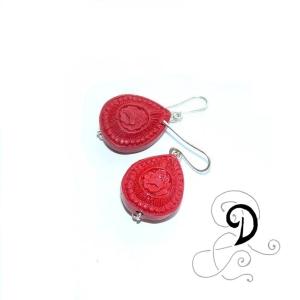 bijuterii-cercei-handmade-earring-jewelry-cinambru-coral-rasina-sarma-argintata-silver-plated-wire-tibet