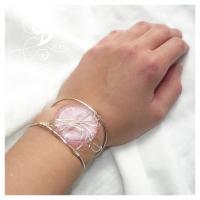 bratara sticla Murano roz bijuterii argintate handmade sarma argintata jewelry pink bracelet silver plated wire