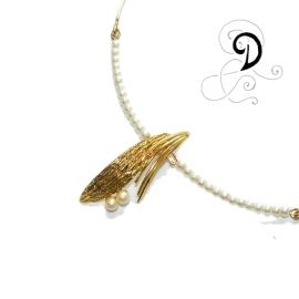 colier aurit bijuterii handmade jewelry gold plated necklace pandantiv placat cu aur perle sticla