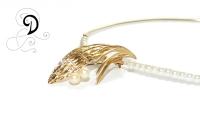 colier aurit bijuterii handmade jewelry gold plated necklace pandantiv placat cu aur