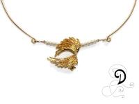 colier aurit bijuterii handmade jewelry gold plated necklace perle sticla placat cu aur