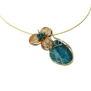 colier handmade placat aur aurit apatit albastru turcoaz tuqoise necklace gold plated.jpg