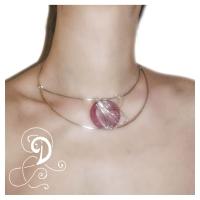 colier sticla Murano  glas rosu bijuterii handmade jewelry argintate silver plated wire sarma argintata pink
