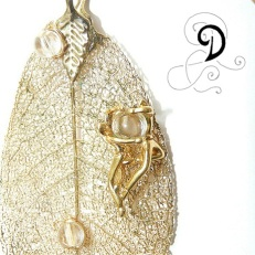 frunza aurita bijuterii handmade jewelry gold plated leaf fairies