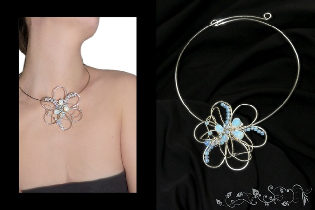14 colier moon flower necklace bijuterii handmade jewelry opalit silver plated placat cu argint sarma wire
