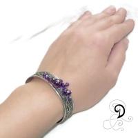 bijuterii handmade jewelry amethyst bracelet bratara ametist vintage violet argint 925