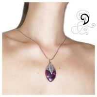 bijuterii handmade jewelry amethyst pendant pandantiv ametist  marchiza marquise vintage violet purple argint 925