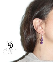 cercei ametist violet bijuterii handamde jewelry earrings sarma placata argint pietre semipretioase silver plated wire semiprecious stones amethyst autor