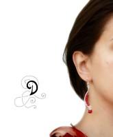 cercei coral rosu bijuterii handamde jewelry earrings sarma placata argint pietre semipretioase silver plated wire semiprecious stones autor