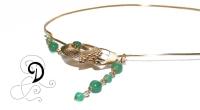 colier aurit bijuterii handmade jewelry gold plated necklace pandantiv placat cu aur jade agate verde
