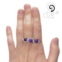inel ametist violet bijuterii handamde jewelry turqouise ring sarma placata argint pietre semipretioase silver plated wire semiprecious stones autor
