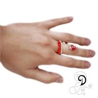 inel coral bijuterii handamde jewelry ring sarma placata argint pietre semipretioase silver plated wire semiprecious stones autor on