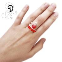 inel coral bijuterii handamde jewelry ring sarma placata argint pietre semipretioase silver plated wire semiprecious stones autor