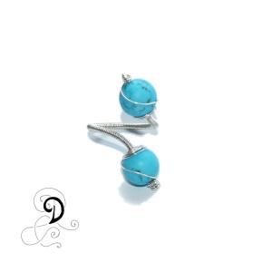 inel turcoaz bijuterii handamde jewelry turqouise ring sarma placata argint pietre semipretioase silver plated wire semiprecious stones autor